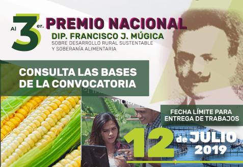 Consulta las bases de la convocatoria del 3er Premio Nacional Dip. Francisco J Múgica sobre Desarrollo Rural Sustentable y Soberanía Alimentaria.