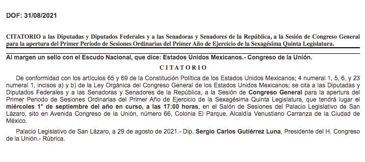 Publican+en+DOF+citatorio+para+Sesi%C3%B3n+de+Congreso+General