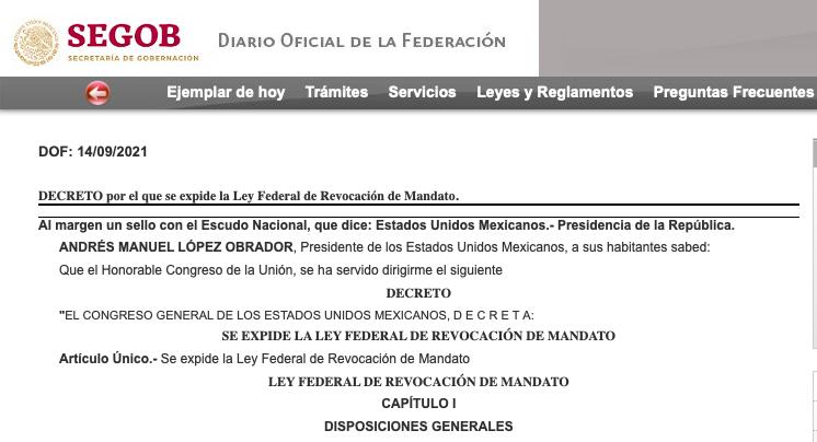 Publican+en+DOF+decreto+por+el+que+se+expide+la+Ley+Federal+de+Revocaci%C3%B3n+de+Mandato